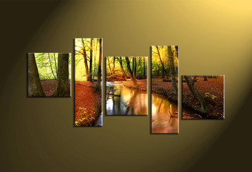home décor, 5 piece canvas wall art, forest multi panel canvas, scenery canvas art, autumn group canvas