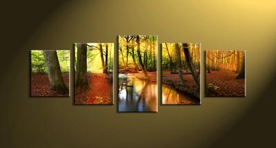 home décor,5 piece canvas art prints, nature canvas print, forest decor,  scenery large canvas