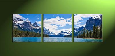 Home wall art, 3 piece multi panel art, landscape wall art, river artwork, mountain artwork