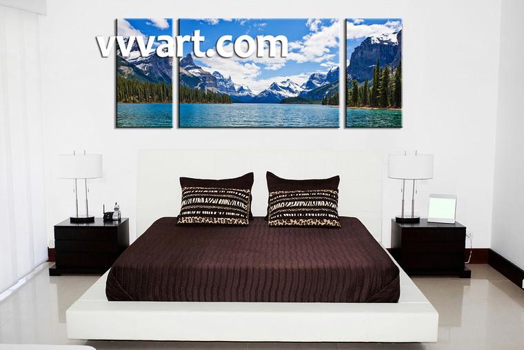 Bedroom wall art, mountain multi panel art, river wall art, landscape artwork, river artwork