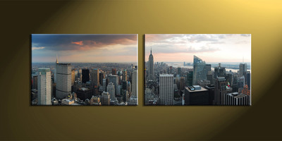 Home Decor, 2 Piece Wall Art, city multi panel art, city scape wall art, city wall art, city scape huge canvas art