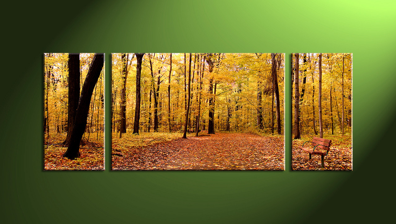 e294c05eace 3 Piece Canvas Scenery Autumn Yellow Trees Artwork