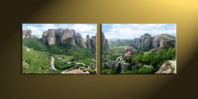 Home decor, 2 piece wall art,  forest wall art, mountain artwork, scenery artwork