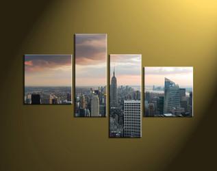 Home Decor, 4 piece canvas wall art,city multi panel canvas, city group canvas, city wall art