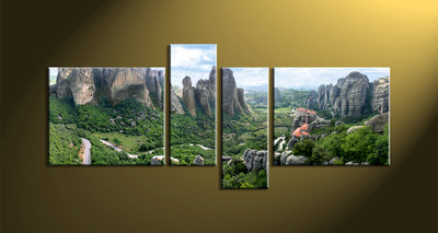 Home decor, forest photo canvas, 4 piece large canvas, scenery canvas art prints, mountain group canvas