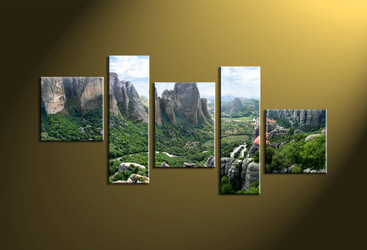 Home wall decor, scenery canvas wall art, mountain huge pictures, forest large pictures, 5 piece artwork