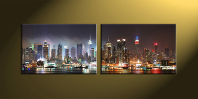 Home Decor,2 piece canvas art prints,city scape canvas print, city wall art, city artwork