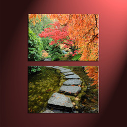 home décor, 2 piece canvas wall art, forest multi panel canvas, scenery canvas art, autumn group canvas