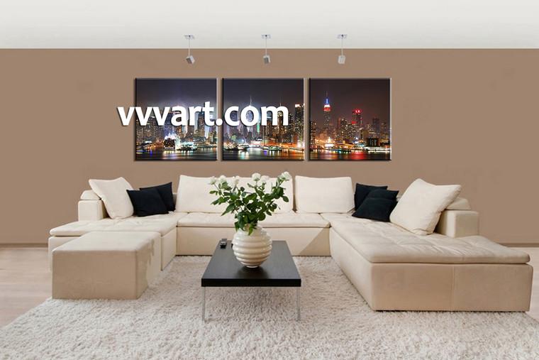Living Room Wall Décor, 3 piece canvas art prints, city scape canvas print, city art, city wall art