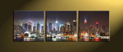 Home Décor, 3 piece canvas art prints,city scape canvas print, city wall art, city huge canvas art