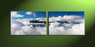 home décor, 2 piece canvas wall art, mountain multi panel canvas, scenery canvas art, clouds group canvas