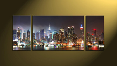Home Décor, 3 piece canvas wall art, city multi panel canvas, city wall decor, city wall art
