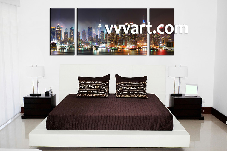 Bedroom Wall Art, 3 piece canvas art prints,city canvas print, city artwork, city wall art