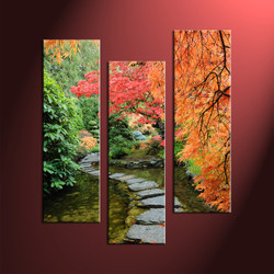 home décor, 3 piece group canvas, forest multi panel canvas, scenery canvas art, autumn group canvas