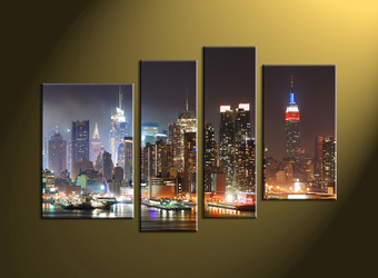Home Décor, 4 piece canvas wall art, city scape multi panel canvas, city art, city wall art