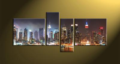 Home Décor, 4 piece canvas wall art, city scape multi panel canvas, city art, city wall art