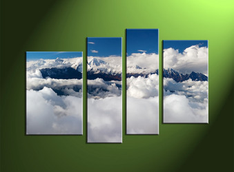 Home Wall Art, 4 Piece Wall Art, clouds multi panel art, scenery wall art, mountain huge pictures