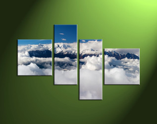 Home Wall Art, 4 Piece Wall Art, clouds artwork, scenery wall art, mountain canvas photography