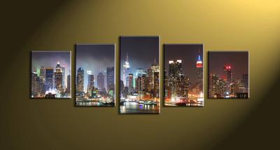 Home Décor, 5 piece canvas wall art, city scape multi panel canvas, city art, city group canvas