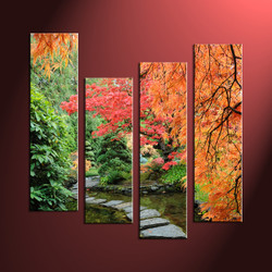 home décor, 4 piece canvas wall art, forest multi panel canvas, scenery canvas art, autumn group canvas