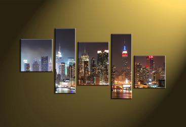 Home Décor, 5 piece canvas wall art, city scape multi panel canvas, city wall art, city group canvas