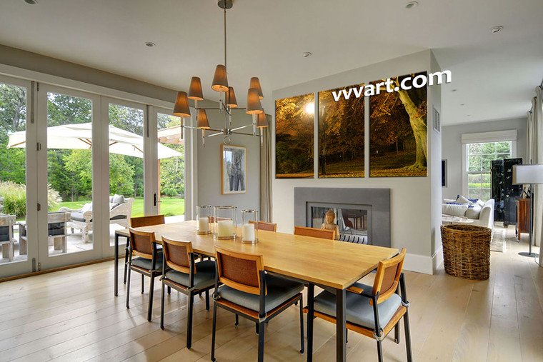 dining room group canvas ,3 piece artwork, forest multi panel canvas, scenery art