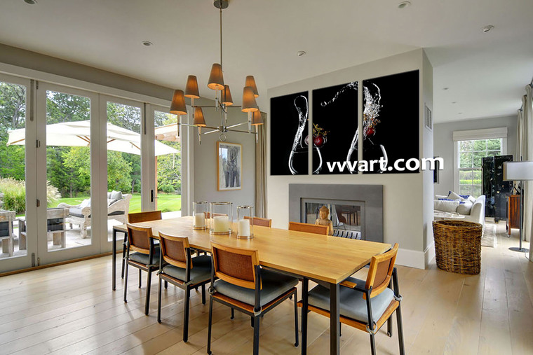 Dining room Wall Art, 3 Piece Wall Art, wine multi panel art, scenery wall art, glass huge pictures