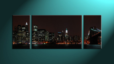 Home Décor, 3 piece canvas wall art, city multi panel canvas, city wall art, city art