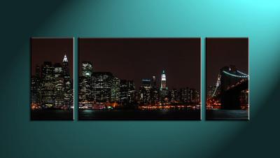 Home Décor, 3 piece canvas wall art, city multi panel canvas, city wall art, city art