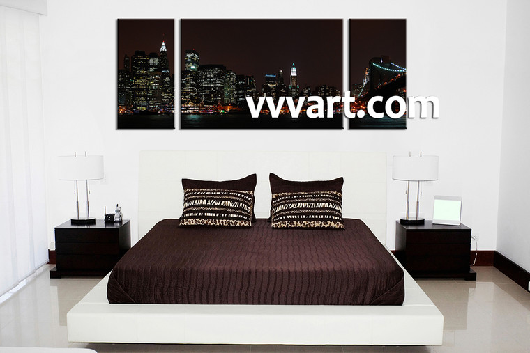 Bedroom Wall Art, 3 piece canvas wall art,city multi panel canvas, city wall decor, city artwork