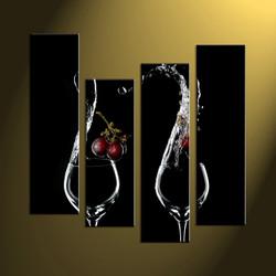 Home décor,4 piece canvas art prints, wine canvas print, scenery canvas print, glass large canvas