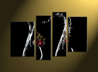 Home décor,4 piece canvas wall art, wine multi panel canvas, scenery art, glass pictures