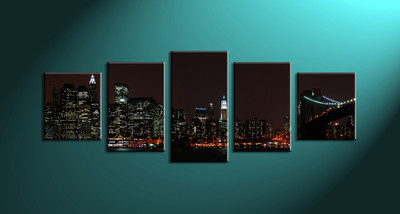 Home Décor, 5 piece canvas wall art,city scape multi panel canvas, city huge canvas art, city wall art