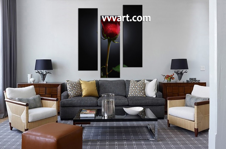Living room art, 3 Piece Canvas Wall Art, 3 piece wall art, flower huge pictures, flower canvas photography