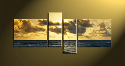 Home Décor, 4 piece canvas wall art,Scenery multi panel canvas, ocean huge canvas art, ocean wall art