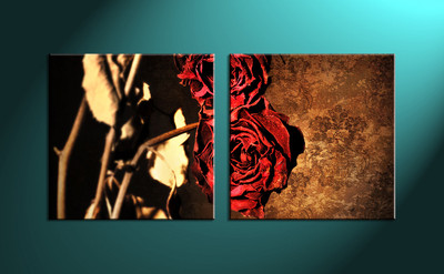 home décor, 2 piece canvas wall art, glass multi panel canvas, red rose canvas art, red rose wall art
