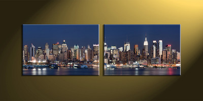 Home Décor, 2 piece canvas wall art, city multi panel canvas, city wall art, city art