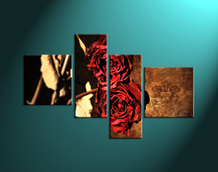 Home décor, red rose wall art, flower multi panel art, red rose art, red rose multi panel canvas