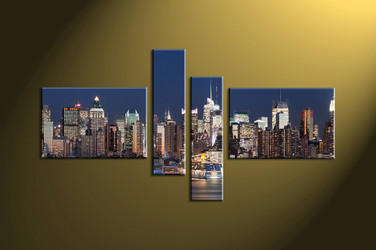 Home Décor, 4 piece canvas wall art, city multi panel canvas, city group canvas, city wall art