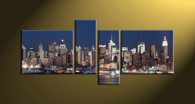 Home Décor, 4 piece canvas wall art, city multi panel canvas, city art, city wall art