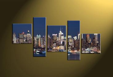 Home Décor, 5 piece canvas wall art, city multi panel canvas, city art, city huge canvas art