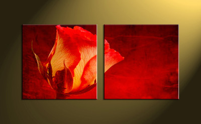 Home decor, scenery art, 2 piece wall art, red artwork, floral huge canvas