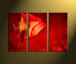Home decor, scenery art, 3 piece wall art, red artwork, floral huge canvas, floral wall art