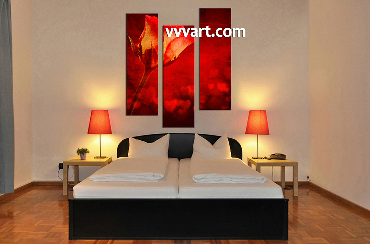 3 Piece Home Decor Art Beautiful Red Rose Canvas Pictures Triptych Wall Art