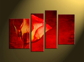 Home art, scenery art, 4 piece wall art, red large canvas, floral pictures