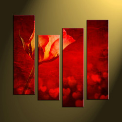 Home wall art, scenery artwork, 4 piece canvas prints, red pictures, rose large multi panel art