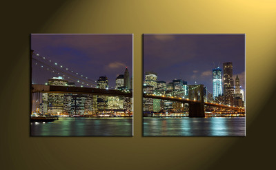 Home Décor, 2 piece canvas wall art,city multi panel canvas, city scape canvas print, city scape city huge pictures