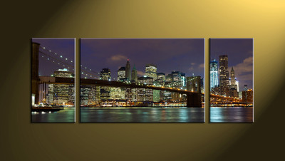Home Wall Décor, 3 piece canvas wall art, city scape multi panel canvas, city canvas photography, city artwork