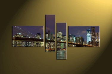 Home Décor, 4 piece canvas wall art,city multi panel canvas, city canvas photography, city scape artwork