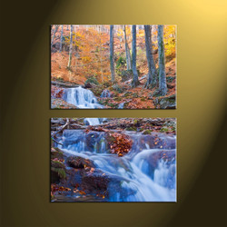 home decor,2 piece canvas art prints, waterfall canvas print, forest canvas print, scenery large canvas